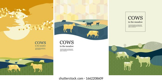 Agricultural background. Sunset. Cows made up of circles. Silhouettes of cows. Geometrical composition. Background for covers, flyers, banners. A set of banners.