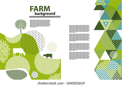 Agricultural brochure layout design. An example of a backdrop for farm.  Geometrical composition. Background for covers, flyers, banners.