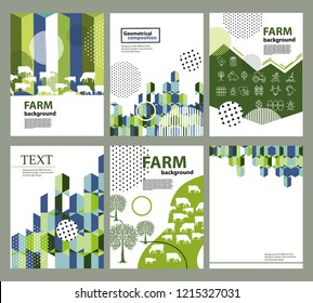 Agricultural brochure layout design. An example of a backdrop for cattle farm. Geometrical composition. Background for covers, flyers, banners.