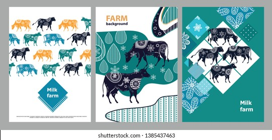 Agricultural brochure layout design. An example of a backdrop for cattle farm. Silhouettes of cows with floral ornament. Geometrical composition. Background for covers, flyers, banners.