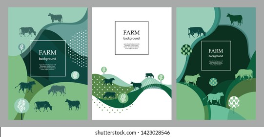 Agricultural brochure layout design. An example of a backdrop for cattle farm. Silhouettes of cows. Geometrical composition. Background for covers, flyers, banners.