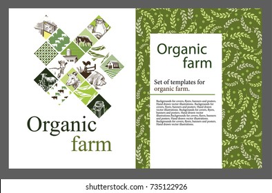 Agricultural brochure layout design. An example of a backdrop for cattle farm. Hand drawn vector illustrations.