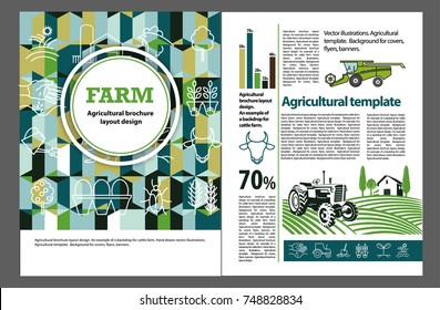 Agricultural brochure layout design. An example of a backdrop for farm. Agricultural infographic, logo set. Geometrical composition. Background for covers, flyers, banners.