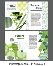 Agricultural brochure layout design. Flat images of cows. Geometrical composition. Background for covers, flyers, banners.