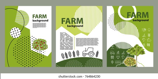 Agricultural brochure layout design. Geometrical composition. Background for covers, flyers, banners.