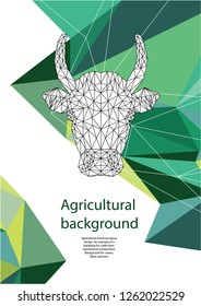 Agricultural brochure layout design. Polygonal portrait of a cow. An example of a backdrop for cattle farm. Geometrical composition. Background for covers, flyers, banners.