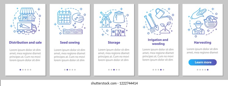 Agricultural business onboarding mobile app page screen with linear concepts. Farming. Agriculture. Sowing, growing, storage, distribution steps instructions. UX, UI, GUI vector illustrations