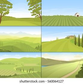 Agricultural farm field set vector.