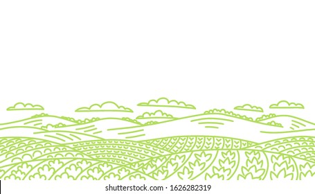 Agricultural field landscape. Vegetables garden farming. Rural countryside. Vector hand-drawn sketch line drawing.