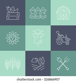 Agricultural icons with different farming and eco product harvesting design elements. Perfect clean vector.
