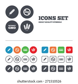Agricultural icons. Gluten free or No gluten signs. Without Genetically modified food symbols. Web buttons set. Circles and squares templates. Vector