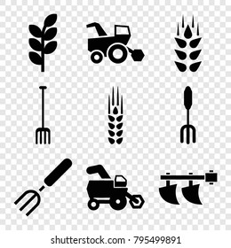 Agricultural icons. set of 9 editable filled agricultural icons such as wheat, tractor