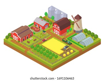 Agricultural industry isometric composition with farm buildings, machinery and farmlands. Countryside barn, greenhouse, cattle farm and windmill vector illustration. Livestock farming and gardening