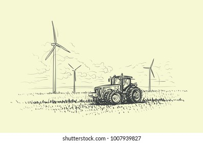 Agricultural landscape hand drawn, tractor and wind turbines illustrated. Vector.