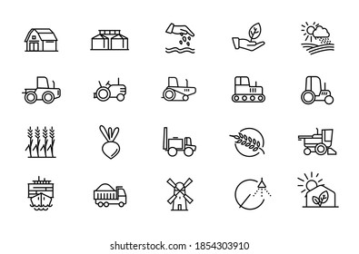 Agricultural machinery and agribusiness vector icons set. Agriculture Farming and horticulture equipment outline symbols pack. Tractor combine harvester isolated contour illustrations. Editable stroke
