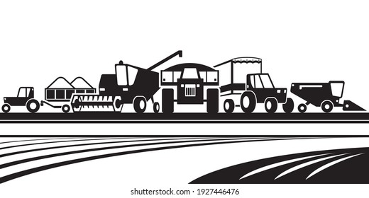 Agricultural machinery in the field – vector illustration