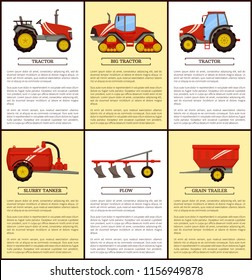 Agricultural machinery set cartoon vector banner. Small compact, big with cabin and caterpillar band tractors, grain trailer, slurry tanker and plow