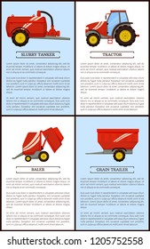 Agricultural machinery set cartoon vector. Compact tractor and slurry tanker, grain trailer and baler, new technique, equipment posters with text samples