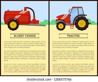 Agricultural machinery set cartoon vector banner. Middle tractor with cabin and slurry tanker, isolated new technique and farming equipment poster