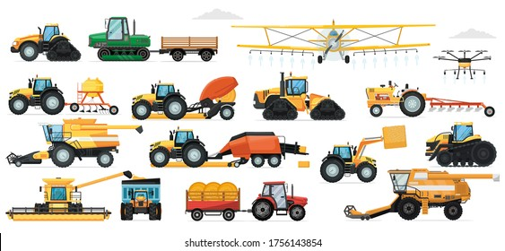 Agricultural machinery set. Vehicle for field farm work. Isolated industrial tractor, harvester, combine, crop duster, seeding machine transport icon collection. Agriculture and agricultural machinery