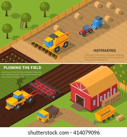 Agricultural machines isometric horizontal banner set with haymaking and plowing the field processes vector illustration