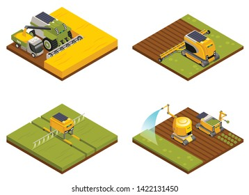 Agricultural robots concept 4 isometric compositions with hoeing plowing planting  watering fertilizing and harvesting machinery vector illustration