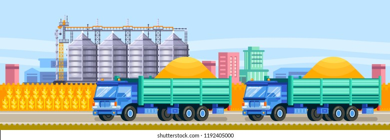 Agricultural silo trucks deliver wheat harvest to the grain storage elevator. Cereal storage and harvesting vector flat illustration.