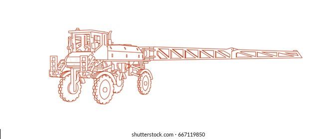 Agricultural sprayer vector line art 3d