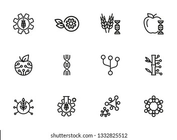Agricultural technologies line icon set. Biotechnology concept. DNA structure, appe, chemistry. Vector illustration can be used for topics like science, biology, technology