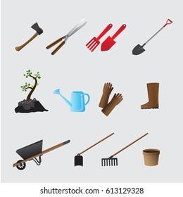 Agricultural tools set vector illustration.