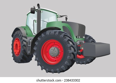 Agricultural tractor with big wheels vector illustration