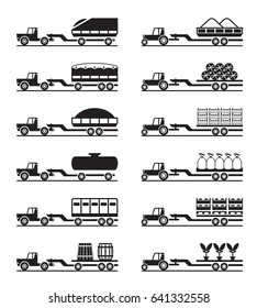 Agricultural tractors with trailers - vector illustration