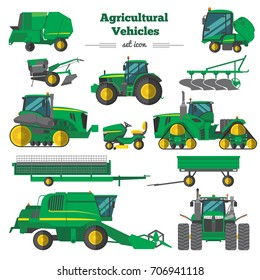 Agricultural vehicles flat icons set with combine tractor trailers elements of cultivation and irrigation isolated vector illustration