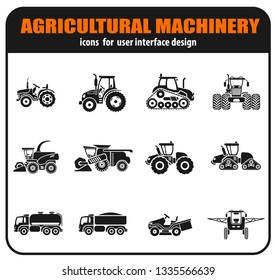 Agricultural vehicles icons set with combine tractor trailers elements of cultivation and irrigation isolated vector illustration