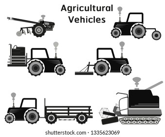 Agricultural Vehicles vector construction icons set