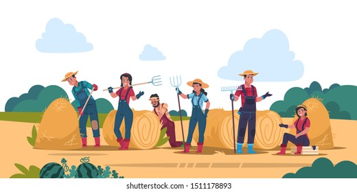 Agricultural work concept. Cartoon farmer characters working in fields, harvesting and cropping. Vector organic eco food background with flat young woman and man standing in garden