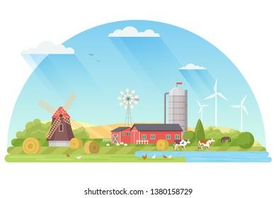 Agriculture, Agribusiness and Farming concept illustration. Rural flat landscape vector illustration.