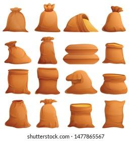 Agriculture bag sack icons set. Cartoon set of agriculture bag sack vector icons for web design