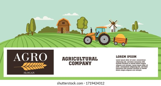 Agriculture banner or header design with copy space below a farming scene with tractor working in the fields and barn on the hilltop, colored vector illustration