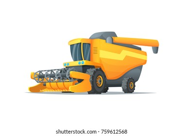 Agriculture combine harvester isolated vector illustration. Rural industrial farm equipment machinery, farm transport, agricultural vehicle in cartoon style.