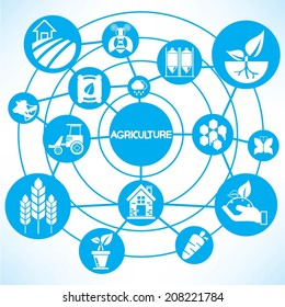 agriculture concept info graphic network with blue theme