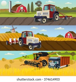 Agriculture design concept set with of the process of growing and harvesting crops,farm machines.