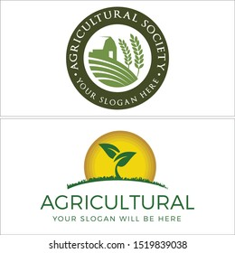 Agriculture design logo with farmhouse leaf sun and land grass vector suitable for community non profit association foundation nature