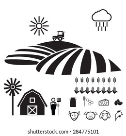 Agriculture farm icons set flat