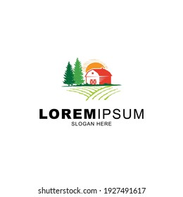 agriculture and farm logo vector with rising sun and barn yard and pine tree