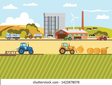 Agriculture and Farming. Agribusiness. Fodder. Milk production. Design elements for info graphic, websites and print media. Vector illustration. Wind farm.