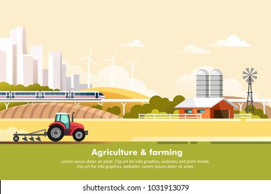 Agriculture and Farming. Agribusiness. Rural landscape with silhouette megapolis and train rail. Design elements for info graphic, websites and print media. Vector illustration.