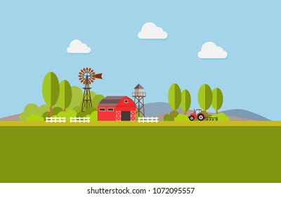 Agriculture and Farming. Agribusiness. Rural landscape. Design elements for info graphic, websites and print media. Vector illustration.