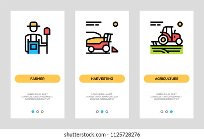 Agriculture And Farming Banners. Farmer, Harvesting Vertical Cards. Vector Concept For Web Graphics.