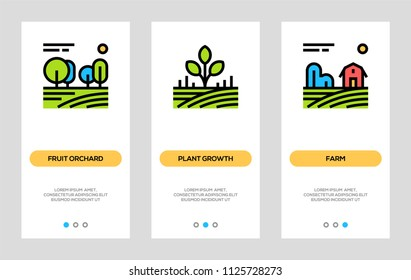 Agriculture And Farming Banners. Fruit Orchard, Plant Growth, Farm Vertical Cards. Vector Concept For Web Graphics.